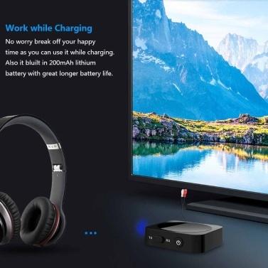 2 in 1 Bluetooth-Sender Empfänger Bluetooth-Audioadapter 3,5 mm AUX APT-X für TV-Kopfhörer Lautsprecher