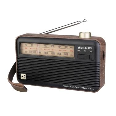 Retekess TR614 Wood Grain Retro Radio FM / AM / SW 3-полосный радиоприемник 3,5 мм разъем для наушников Выдвижная антенна Встроенная батарея
