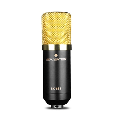 skerei SK-888 Condenser Microphone Wired Professional Broadcasting & Recording Microphone Sound Studio Cardioid Voice Mic w/ Shock Mount & XLR 3.5mm Cable KTV Karaoke Singing Recording Kit