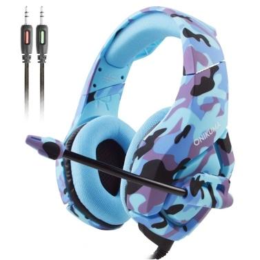 ONIKUMA K1-B 3,5-mm-Gaming-Headset über Ohr Kopfhörer mit Noise Cancelling-Mikrofon Stummschaltung und Lautstärkeregler für PS4 New Xbox One PC Laptop