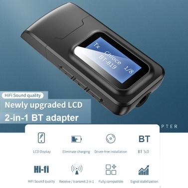 Drahtloser Adapter Bluetooth 5.0 Audio Sender Empfänger 3,5 mm Aux-Buchse 2 IN 1 USB Bluetooth Dongle mit LCD-Display Für TV-PC