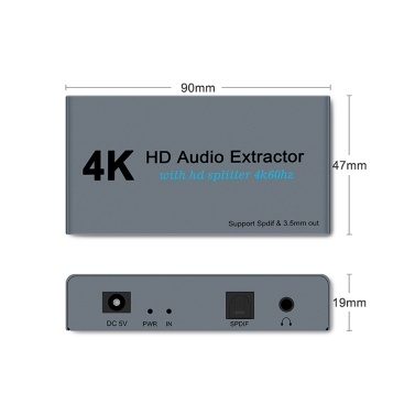 E12 4K 60HZ HD Video Extractor with Optical Toslink Splitter Spdif&3.5mm AUX Stereo Video Converter HD 1.4 Splitter 1 IN 2 OUT Audio Adapter