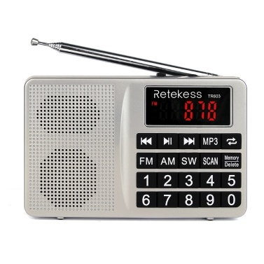 Retekess TR603 FM / AM / SW Multiband Digital Radio Receiver MP3 Player Speakers Earphone Output AUX IN Support TF Card U Drive