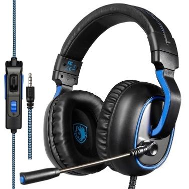 SADES R4 Gaming Headset 3,5-mm-Stereo-Over-Ear-Kopfhörer mit einstellbarem Mikrofon-Lautstärkeregler Noise Cancelling für PC-Laptop-Smartphone
