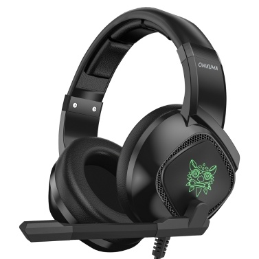 ONIKUMA K19 3,5-mm-Gaming-Headset über Ohr Kopfhörer Noise Cancelling E-Sport-Kopfhörer mit Mikrofon LED-Leuchten Lautstärkeregler Mute Mic für PC Laptop PS4-Smartphone