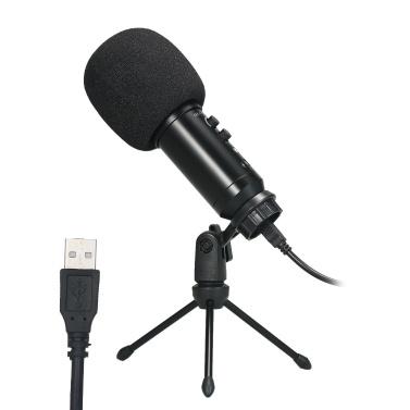 USB Microphone Plug & Play Computer Recording Mic Echo Adjustment Laptop PC Online Meeting Chatting Studio Recording Podcasting Singing