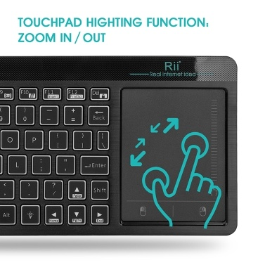 Rii K18 Plus 2.4GHz Wireless Keyboard Touchpad Mouse 3 Colors Backlight Remote Control Multi-Touch Multimedia Keyboard for Android TV BOX Smart TV PC Notebook