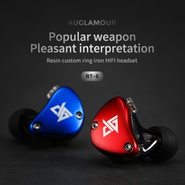 AUGLAMOUR RT-5 3.5mm Wired In Ear Headphones Hybrid HiFi Music Earphone Replacement Earphone Cable 10mm 1DD+1BA Dynamic Armature Drivers Sports Headset