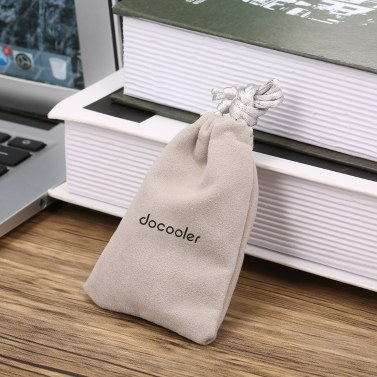 Docooler Headphones Storage Bag Travel Carrying Bag Small Drawstring Flocked Protection Pouch 10*7CM Grey