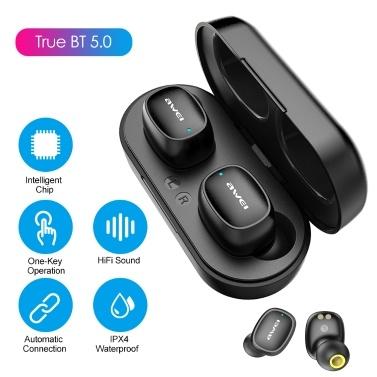 AWEI T13 TWS Touch-Control-Kopfhörer Intelligente BT Binaural Call In-Ear-Ohrhörer Mini Fashion Auto Connection Sport-Kopfhörer mit Ladekoffer