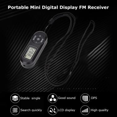 HRD-727 Tragbares Mini-FM-Radio Digitalanzeige FM-Empfänger Retro MP3-Player-Stil DSP mit Kopfhörer Lanyard