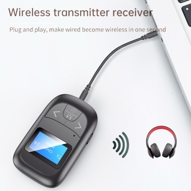 T14 Bluetooth 5.0 Audio Adapter Wireless Audio Transmitter Receiver LCD Display 3.5mm AUX with Mic for TV Speaker Headphones Car Stereo