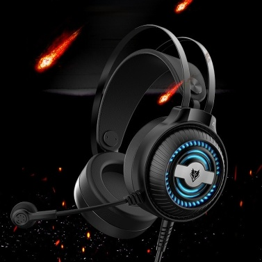 NUBWO N1 PRO Over Ear Gaming Headset 3.5mm Wired Game Headphones with Colorful Breathing Lights Noise Canceling E-Sport Earphone with Microphone Volume Control AUX+USB for Desktop PC