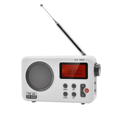 SY-8801 Portable FM / AM Radio Multiband Digital Radio Receiver 3.5mm Earphone Output Time Display Alarm Clock External Rotatable Antenna