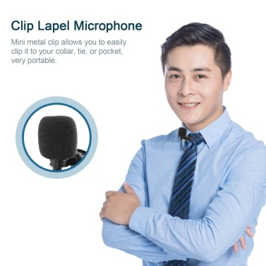 UHF Lavalier Lapel Wireless Microphone Recording Live Streaming Microphone Transmitter Receiver 50m Working Range Compatible with Camcorder Smartphone Laptop PC