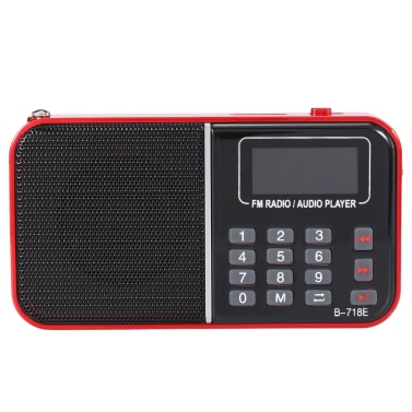 BANNIXING B-718E FM Radio Speaker Digital Audio Player LED Display Stereo Music Player Support TF Card Playback Headphone Output Red