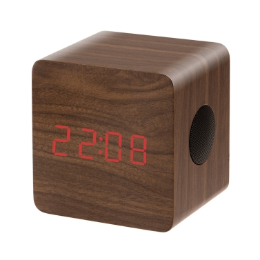 Wooden Wireless BT Speaker HF Stereo Music Alarm Clock LED Display Time Temperature Brown