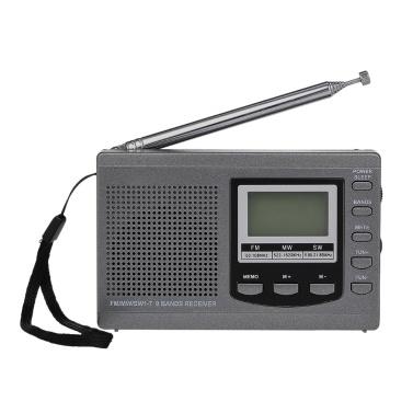 FM / AM / SW Radio Multiband Digital Stereo Radio Receiver Earphone Output Time Display Alarm Clock External Rotatable Antenna