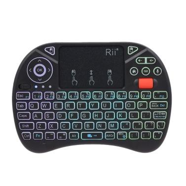 Rii i8X Plus 2.4GHz hintergrundbeleuchtete kabellose QWERT-Tastatur Spracheingabe