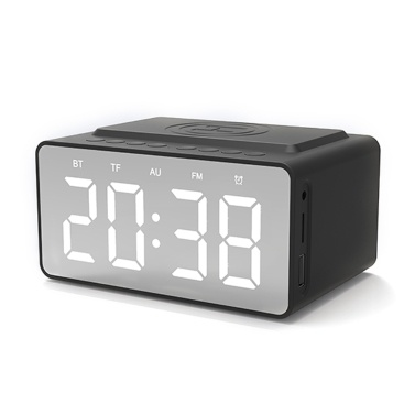 BT-508 Wireless Bluetooth 5.0 Speakers Time Screen Display Double-horn Subwoofer Alarm Clock Wireless Phone Charging Support TF Card U-Disk AUX FM Radio Hands-free Mic