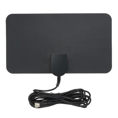 Antenne TV numérique d'intérieur Signal HD à écran plat UHF FM HDTV Récepteur de signal noir