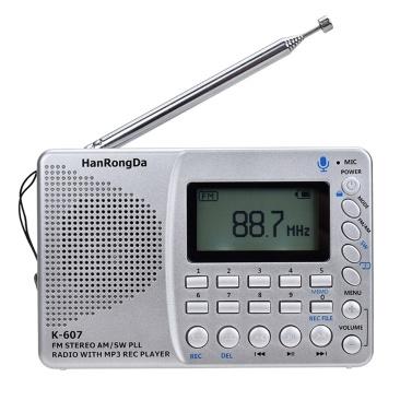 K607 Radio portable AM / FM / SW / TF Radio de poche MP3 Enregistreur numérique Support TF Carte USB REC Enregistreur Temps de sommeil
