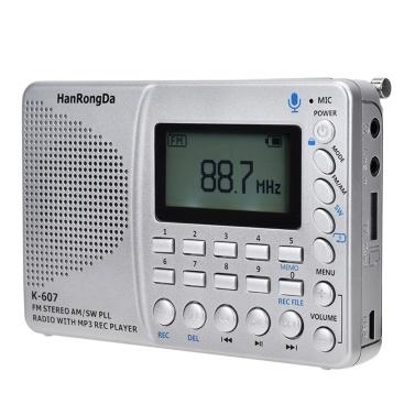 K607 Tragbares Radio AM / FM / SW / TF Taschenradio MP3 Digital Recorder Unterstützung TF-Karte USB REC Recorder Ruhezeit