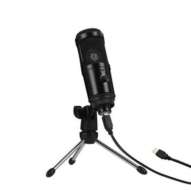 Kondensatormikrofon USB-Mikrofon Karaoke-Aufnahme Rundfunk Podcasting mit Clip-Stativ Plug & Play für Laptop-Desktop-PC