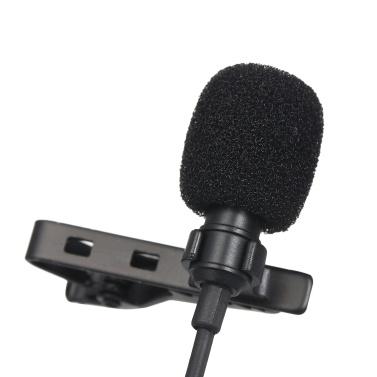 3,5 mm Mini-Kragenmikrofon 1,5 m Kabel Clip Reversmikrofon Hochempfindliches Mikrofon mit Aufbewahrungstasche Audioadapterkabel für Smartphone-Laptop-PC