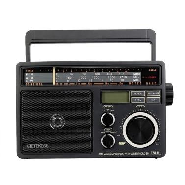 Retekess TR618 FM / AM / SW 3-Band-Radio Tragbarer Radioempfänger mit USB-TF-SD-Player Große Lautsprecher Hochvolumiges Radio mit MP3-Funktion