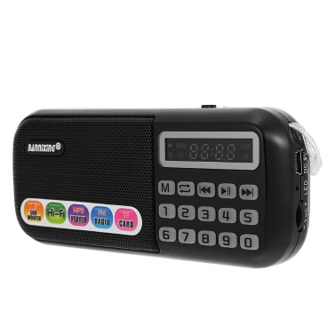 BANNIXING B-898E FM Radio Speaker Audio Player Digital LED Display Support TF Card Music Play Stereo Music Player Black