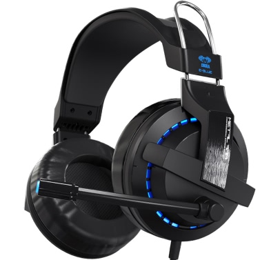 E-3LUE EHS937 USB Wired Volume Control Over-ear Headsets Gaming Headphones 3.5mm Noise Isolating Earphones Microphone LED Light