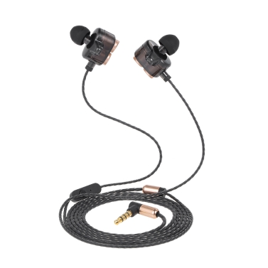 JIES X7 Dual-Treiber-Headset In-Ear-Ohrhörer verdrahtete Stereo-Sound-Kopfhörer Freisprecheinrichtung Anruf W / Mic Grün