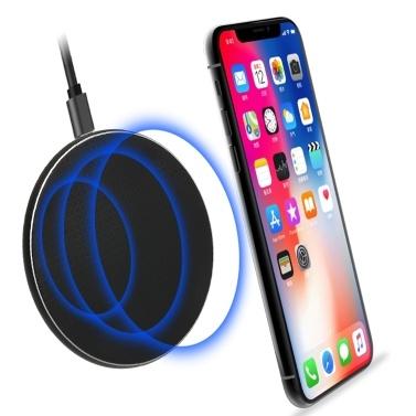 S110 Qi Kabelloses Ladegerät Kabelloses Ladegerät QC3.0 10W Schnellladeschale Kompatibel mit iPhone X XR XS Max 8 Plus Samsung S9 S8 Qi-fähige Geräte Ultra Slim Sleep-friendly