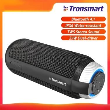 Tronsmart Element T6 Tragbarer Lautsprecher Bluetooth 4.1 IPX6 Wasserbeständig Hervorragender 360 ° TWS-Stereo-Sound Freisprechen 25 W Kabelloser Dual-Driver-Lautsprecher mit tiefen Bässen für Zuhause im Freien