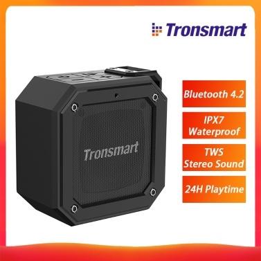 Tronsmart Element Groove (Force Mini) Bluetooth 4.2 Tragbarer Lautsprecher IPX7 Wasserdichter TWS Stereo Sound Kabelloser Lautsprecher 24 Stunden Spielzeit für den Außen- und Innenbereich