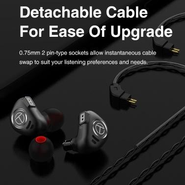 TRN V90 3,5-mm-In-Ear-Kopfhörer 1DD + 4BA Hybrid-HiFi-Sportkopfhörer aus Metall mit Musikkopfhörer und Mikrofon und abnehmbarem 2-poligem Kabel