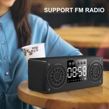 A10 Tragbarer Bluetooth 5.0-Lautsprecher Wecker Radio Drahtlose Lautsprecher unterstützen TF-Karte U-Disk AUX IN FM-Radio für Smartphone-Tablet-PC