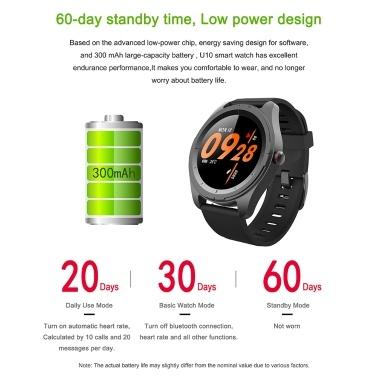 U10 Bluetooth 5.0 Smart Watch Mehrfachsportmodus Smart Bracelet Wasserdicht IP68 Herzfrequenz Fitness Tracker Schlafmonitor Full HD Touch Telefonanruf empfangen