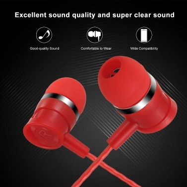 3.5mm Wired Earphone In-Ear Headset Music Headphones with Mic Wire Control Earbuds for Mobile Phone Computer Laptop Tablet