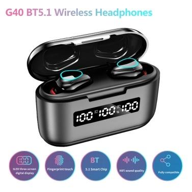 G40 BT5.1 Wireless Headphones Noise Reduction Touch Control IP54 Waterproof 3500mAh Charge Box Three-screen Digital Display Phone Holder (Black)