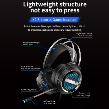 X9 Stereo Gaming Headset 7.1 Virtual Surround Bass Gaming Earphone Over-ear Game Headphone USB Plug Volume Control with Mic LED Light for Computer PC Gamer
