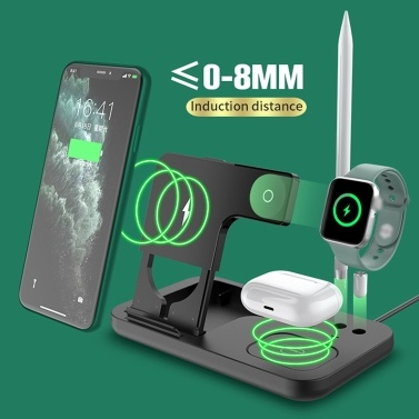OW-01 4 in 1 Wireless Charger Qi Wireless Fast Charging Stand Replacement for iWatch Airpods Pro iPhone 12/11/11pro/X/XS/XR/Xs Max Apple Pencil Wireless Charging Pad