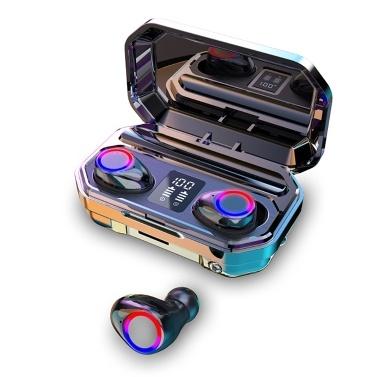 BT 5.0 Ohrhörer mit Ladetasche LED-Display Touch Control Tiefer Bass Automatische Verbindung Taschenlampenfunktion Telefon aufladen, Schwarz