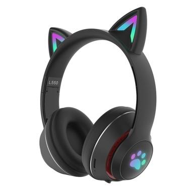 L550 Auriculares con música para colocar sobre la oreja Auriculares con orejas de gato brillantes Luces de respiración de 7 colores Auriculares inalámbricos plegables BT5.0 con micrófono AUX IN Tarjeta TF Reproductor de MP3 para PC Computadora portátil Teléfono móvil
