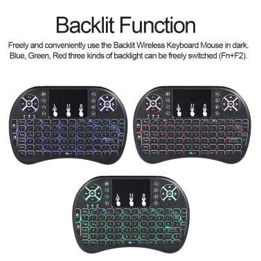 b8becee6b4e Spanish Version Backlit 2.4GHz Wireless Keyboard Air Mouse Black Sales  Online black spanish - Tomtop