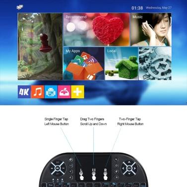Deutsch Version Backlit 2.4GHz Wireless Keyboard Air Mouse Black
