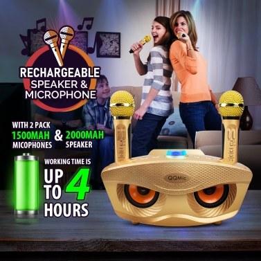 QQ-Mic wiederaufladbarer BT-Lautsprecher mit 2 Mikrofonen für Kinder Erwachsene