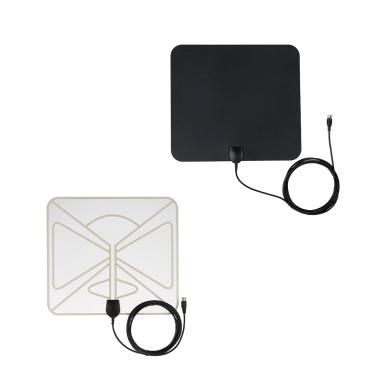 Flat HD TV Digital Indoor Antenna HDTV High Gain 35 Miles Range ATSC DVB ISDB with 10ft High Performance Coax Cable