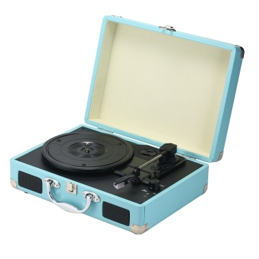 Retro Record Player Antique Gramophone Turntable Disc Vinyl Audio 3-Speed AUX-in Line-out Leather Case Design